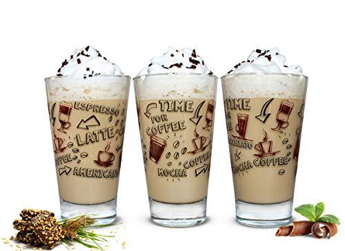 Sendez 6 Latte Macchiato Gläser und 6 Löffel 310ml Kaffeegläser Trinkgläser Teegläser mit Kaffee-Aufdruck