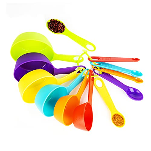 Mitavo Lot de 12 cuillères doseuses, tasse à mesurer pour la cuisine et la pâtisserie en plastique, coloré