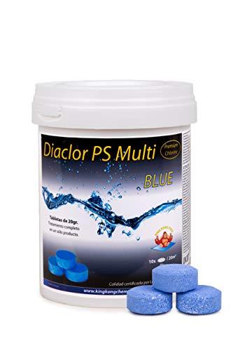 Cloro para Piscinas DIACLOR PS Multi Blue 1 KG - 5 Pastillas de Cloro Lento Azul (20 gr) - Tratamiento Completo Multiacción