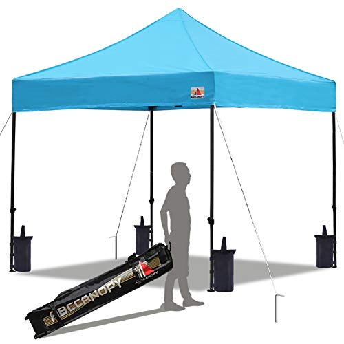 ABCCANOPY Pop up Canopy Tent Commercial Instant Shelter with Wheeled Carry Bag, Bonus 4 Canopy Sand Bags, 10x10 FT (Sky Blue)