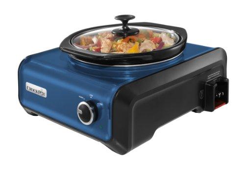 Crock-Pot SCCPMD2-BL Hook Up Round Connectable Entertaining System, 2-Quart, Metallic Blue
