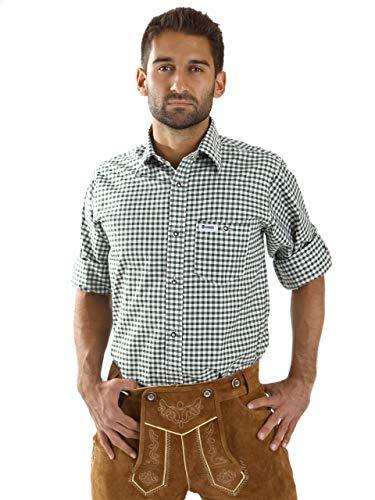 ALMBOCK Trachtenhemd Herren kariert - Slim-fit Männer Hemd dunkel-grün kariert - Karo Hemd aus 100% Baumwolle in den Größen S-XXXL