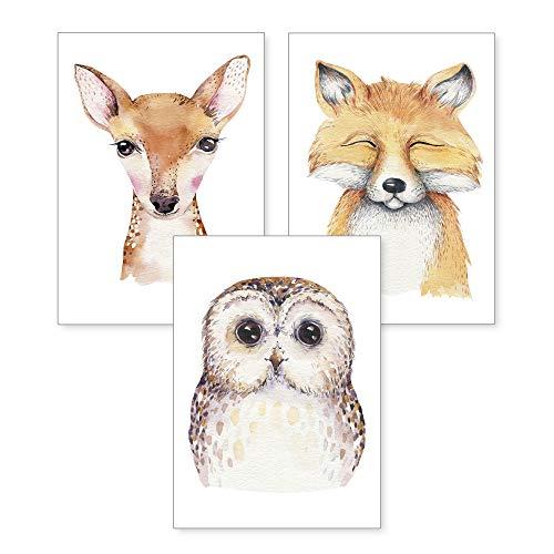 3-teiliges Premium Poster-Set | Kunstdruck | Waldtiere | Deko Bild für Ihre Wand | optional mit Rahmen | Kinderzimmer Schlafzimmer Modern Fine Art | DIN A4 / A3 (A4, ohne Rahmen)