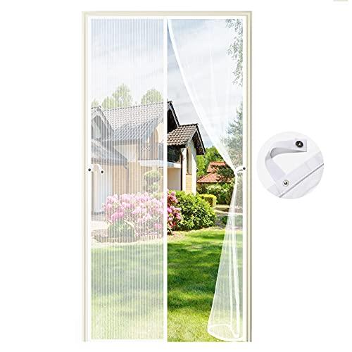 Fliegengitter Tür Magnetisch,90 x 210CM Moskitonetz Tür Insektenschutz Fliegenschutzvorhang Automatisch Verschließen Magnet für Balkontür Wohnzimmer Terrassentür, Klebemontage (Weiß)