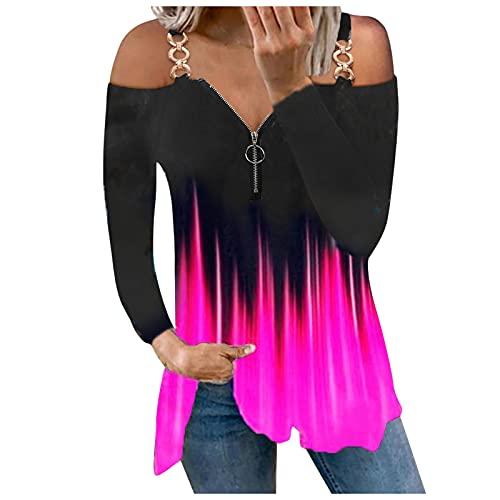 Briskorry Elegant shirt met lange mouwen van metaal, V-hals, ritssluiting, zonder bandjes, sexy, stijlvol, vlammen, print, herfst, winter, tuniek, blouse, losse vrijetijdstops