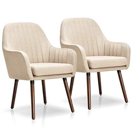 Giantex Set of 2 Fabric Dining Chairs, Accent Upholstered Arm Chair w/Wood Legs, Thick Sponge Seat, Non-Slipping Pad, Modern Leisure Chair for Dining Room, Living Room, Bedroom (2, Beige)