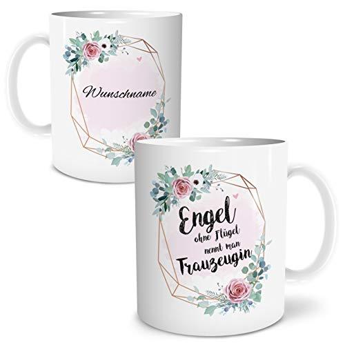 OWLBOOK Engel Trauzeugin Große Kaffee-Tasse mit Spruch im Geschenkkarton Personalisiert mit Namen Geschenke Geschenkideen für Trauzeugin zum Geburtstag