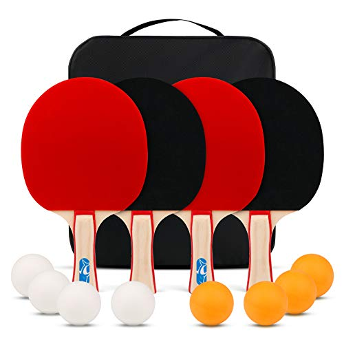XGEAR Ping Pong Paddle Set ;Complete Table Tennis Set ; Table Tennis Racket Set,4 Paddles, 8 Balls, Portable Storage Case, Optimize Spin and Control, for Indoor Outdoor Play