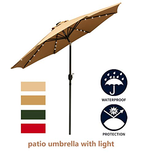 LEISURELIFE 9' Patio Umbrella with Solar Lights Outdoor - Brown Patio Table Umbrellas,8 Sturdy Ribs,Solar Power