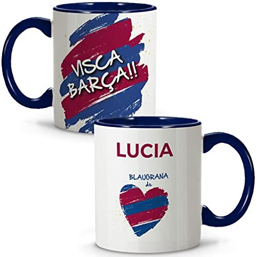 LolaPix Taza Barcelona. Tazas Personalizadas con Nombre. Taza Desayuno fútbol. Regalos Personalizados. Varios diseños.