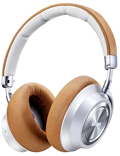 Active Noise Cancelling Bluetooth Kopfhörer, Boltune Hybrid Bluetooth 5.0 Over-Ear Funkkopfhörer ANC Wireless Headphones mit CVC 6.0 Geräuschunterdrückend Mikrofon 30 Std Spielzeit, Weiß-Braun