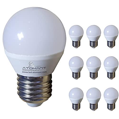 Pack 10x Bombilla LED G45 7w. Color Blanco Frio (6500K). 680 Lumenes. Rosca Gruesa E27, equivalente 75w tradicional. A++