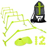 Pro Adjustable Hurdles and Cone Set – 6 Agility Hurdles (6', 9' or 12' Height) with 12 Disc Cones for Soccer, Sports, Plyometric Speed Training – Includes Carry Bag & 2 Agility Drills eBooks (Yellow)