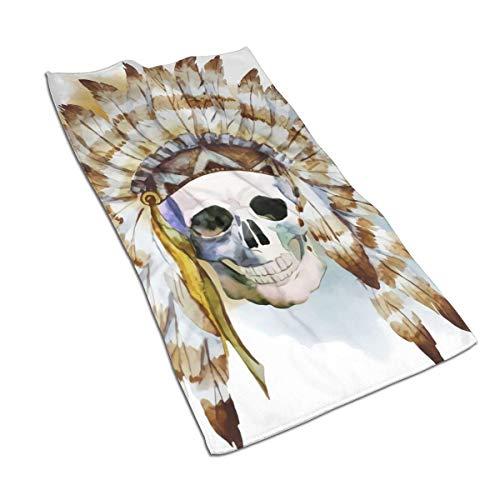 QHMY Serviettes De Salle De Bain Doux Microfibre Absorbent Serviette d'eau pour Piscine Baignoire Spa Fitness Plage Nager Camping en Plein Air Maison 27,5 X 17,5 in Native Skull