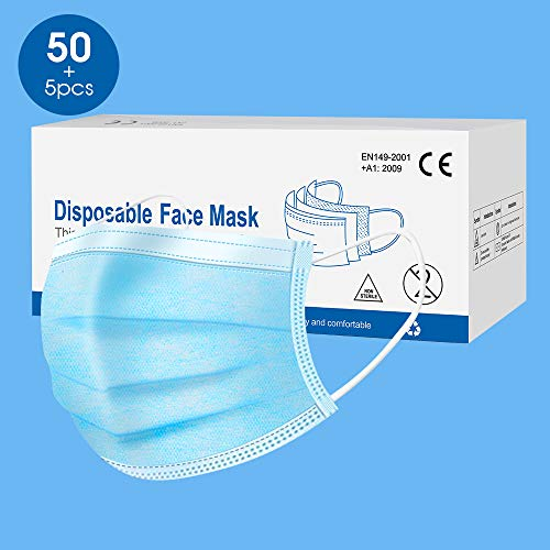 50 Stück Maske Schutzmaske, Masken mundschutz 3-lagig, schützt vor Staub, atmungsaktiv, Unisex, Einwegmasken, Mundschutz, Stoffmasken mundschutz, Einheitsgröße