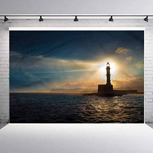 7x7FT Vinyl Photo Backdrops,Lighthouse,American Countryside Photo Background for Photo Booth Studio Props