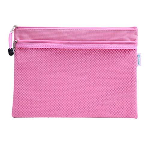 ファイルケース クリアケース カードケース ファイル袋 ペン入れファスナー式 撥水 持ち運びに便利 A4 網目 ファスナ 付き (ピンク2)