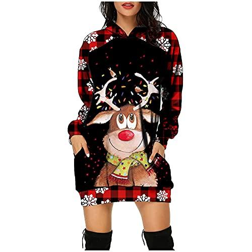 Boshivw Pull de Noël festif - Pull à capuche à carreaux - Robe d'hiver à manches longues - Pour femme - Mini robe de fête - Imprimé Reindeer, rouge, XXXL