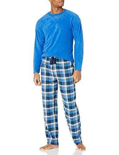 IZOD Men's Yarn-dye Flannel Pant and Microfleece Crew Top Pajama Set, Blue/Plaid, Large