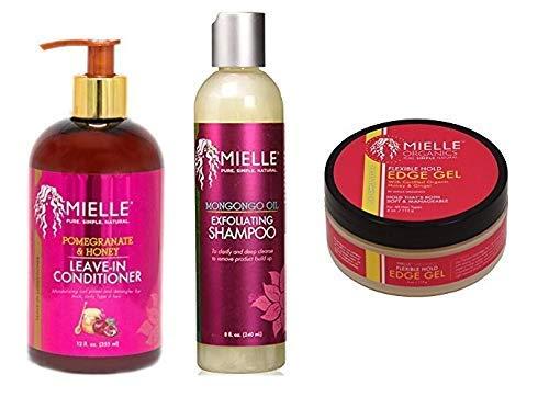 Mielle Pure Simple Natural Hair Care (EXFOLIATING-SHAMPOO&POMEGRANATE-LEAVEIN-CONDITIONER&EDGE-GEL)
