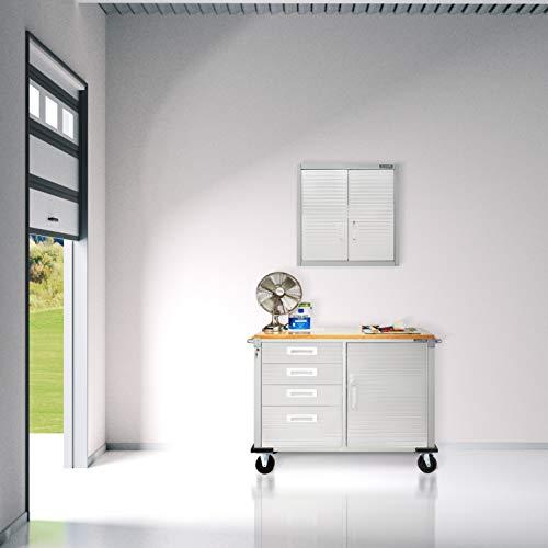 Seville Classics UHD20244 Werkbank mit 4 Schubladen, Metall pulverbeschichtet, Buche Holzarbeitsplatte, 121,9 x 50,8 x 95,2 cm, grau - 2