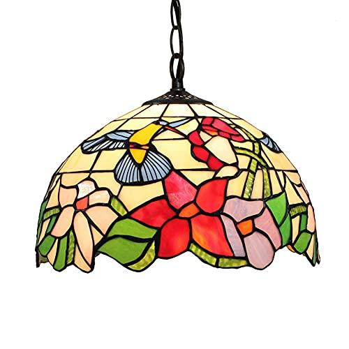 ZHANGDA 12 Zoll Tiffany Style Pendelleuchte Mosaik Glasmalerei Deckenleuchten Unterputz Kreis Kronleuchter Hängende Leuchte Korridor Schlafzimmer Balkon Dekor
