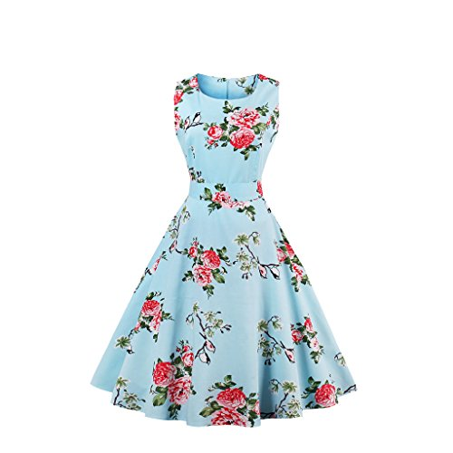 Ann Darling Boatneck Sleeveless 1950s Vintage Bridesmaid Audrey Dress Cocktail Dress with Belt (Floral-3, Medium)