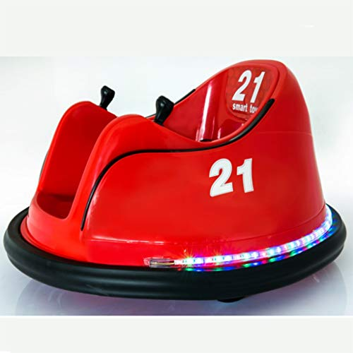 Ride On Bumper Car Toy for Kids, DIY Race 6V Toddlers Electric Bumper Toy with Light, Vehicle Remote Control 360 Spin, No Assembly, for Boys Girls 1.5-6 Years (Red)