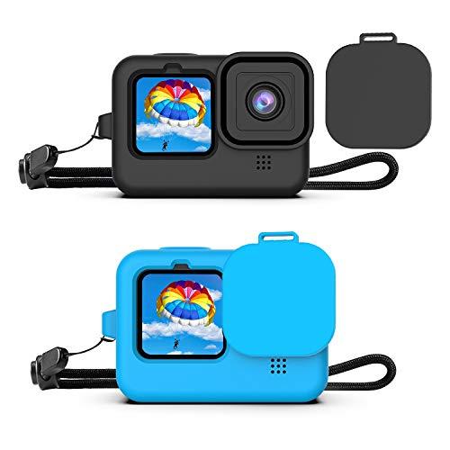 Deyard Custodia Protettiva in Gomma Siliconica per GoPro Hero 9 Black Action Camera, Custodia Protettiva Cover per GoPro Hero 9 Black (Nero e Blu)