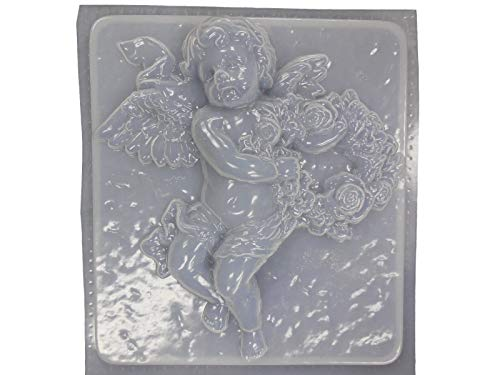 Cherub Angel with Roses Concrete Plaster Mold 7125
