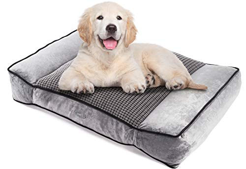 Pecute Medium Dog Bed(74X48cm), Shredded 15 cm Memory Foam Orthopaedic Pet Bed for Good Support,Warm...