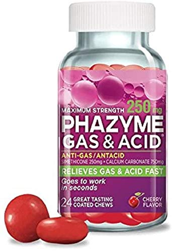 Phazyme Maximum Strength 250mg Gas & Acid Chews - Cherry Flavor - 24ct (Pack of 3)