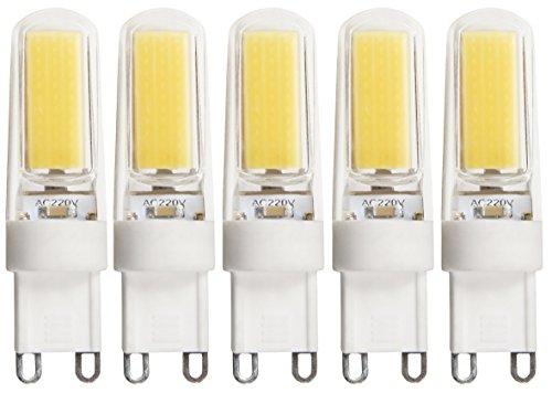 McShine – LED-penfittinglampen | Silicia COB | G9, 2,5 W, 260 lm, neutraal wit (4000 K) | voor gebruik in bijvoorbeeld plafondlampen, tafellampen, enz. | 5 stuks per verpakking.