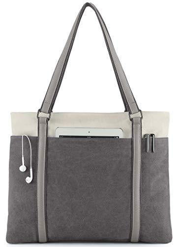 Wxnow Women Laptop Tote Bag Canvas Handbag Purse Shoulder Bag (Dark gray)