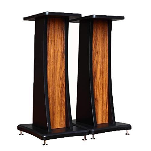 Lautsprecherständer Holz Schwarz Matt Lackleder Lautsprecherständer Home Metall Fußmatte Lautsprecher Zubehör / 2ST (Color : Brown, Size : 80cm)