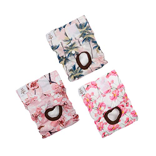CuteBone Dog Diapers Female Puppy Pants Washable for Untrained Puppies, Dogs in Heat, Doggie Menstrual and Incontinence D23XS