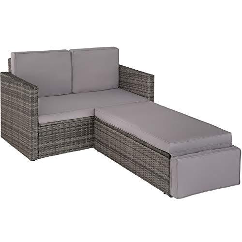 TecTake 800693 Poly Rattan Lounge Set, 2 Sitzer Sofa mit Hocker, Ottomane, inkl. Dicke Auflagen – Diverse Farben (Grau | Nr. 403125) - 8