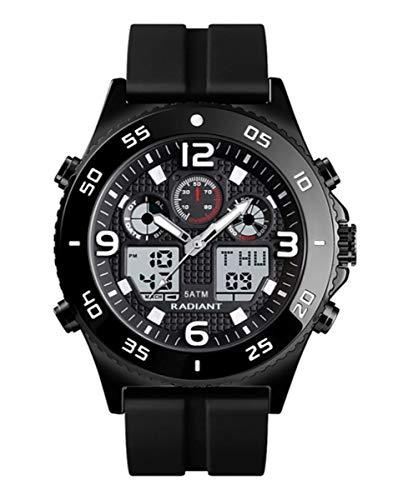 Reloj analógico Digital para Hombre de Radiant. Colección Storm. Reloj con Correa de Silicona y Esfera Negras y Negra Plateada. 5 ATM. 50mm. Referencia RA572602.