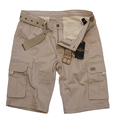 ROCK-IT Apparel Pantaloncini Cargo da Uomo con Cintura Bermuda Vintage con 6 Tasche da chiudere Pantaloni Estivi Corti da Uomo - Taglie S-5XL - Kaki L