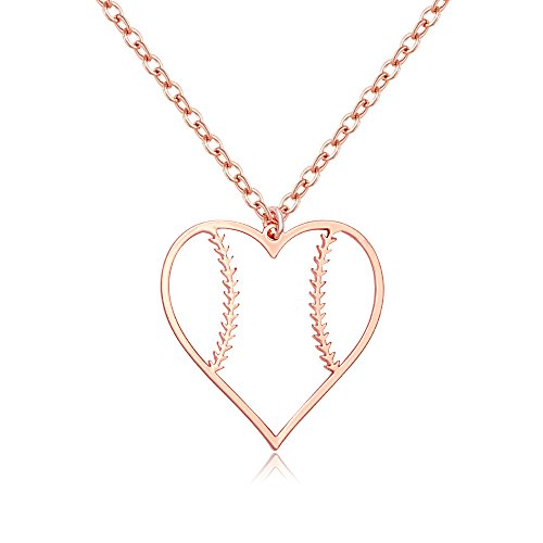 SENFAI Stainless Steel Basketball Football Heart Necklace for Girls (Softball Rose Gold)