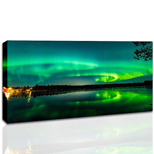 Green Northern Lights Neige Photo SINGLE TOILE murale ART Imprimé