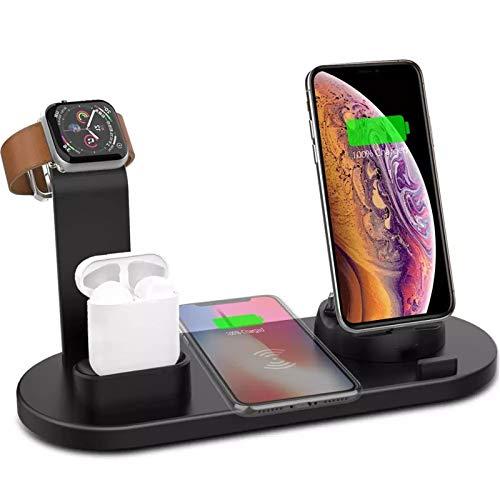 LFLDZ 6 in 1 Stazione di Caricabatterie Wireless per iPhone Android Type-C Phones USB 10W Qi Ricarica Veloce, per Apple Watch Airpods PRO