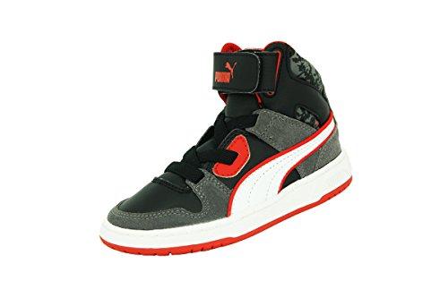 Puma KDS REBOUND STREET S L MP - Zapatillas de moda de piel negra y roja para niños Negro Size: 24 EU