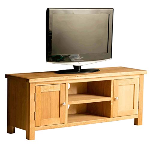 Roseland Furniture London Oak Large TV Unit | 120 cm Solid Wood Light Oak Television Cabinet Stand Suitable for TVs up to 54 inches for Living Room or Bedroom, Fully Assembled