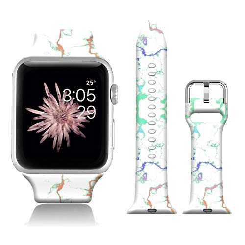 FTFCASE Sport Watch Bands Compatible with iWatch 40mm 38mm iWatch SE & Series 6 - Marble Texture, Flower Printed Soft Silicone Strap Replacement for iWatch Series 6 5 4 3 2 1 for Women Men