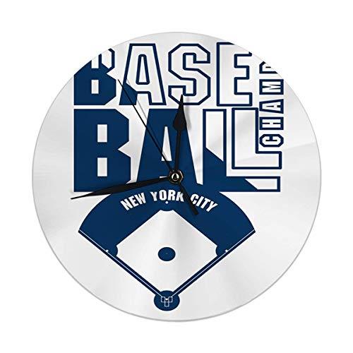 Oh Sweety Dekorative Wanduhr Big 9.8'Zoll Baseball Fashion Stempel New York Sport Athletic Round Kitch Clock