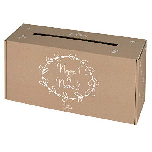 Herz & Heim® Geldbox Briefbox für Hochzeit mit persönlichem Aufdruck der Namen des Brautpaares Vintage