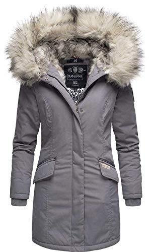 Navahoo Damen Winter Jacke Parka Mantel Winterjacke warm Kunstfell Premium B669 [B669-Christa-Grau-Gr.M]