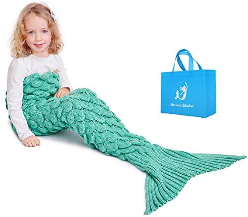 Mermaid Schwanz Strickdecke für Kinder, Häkeln Meerjungfrau Schwanz Decke Gestrickte Schlafsack, All Seasons Fischschwanz Decken Sofa Quilt (Grün)