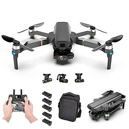 LYHY Drone GPS con Fotocamera 8K per Adulti, Video HD 1080P Gimbal a 3 Assi Ritorno Automatico a casa Follow Me Quadricottero RC Pieghevole con batterie e Custodia per Il Trasporto